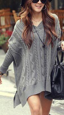 Warm loose long sweater dress