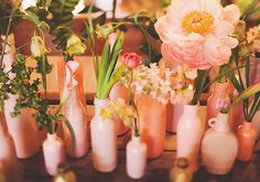 inspiration | pink vases and flowers | via: 100 layer cake