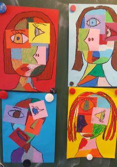 Portraits Cubistes, Portrait Art, Kids Art Class, Art For Kids, Picasso Cubism, Ecole Art, Art Plastique, Toddler Crafts, Drawing People