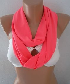 neon pink Infinity Scarf Shawl Circle Scarf by CarnavalBoutique, $25.00