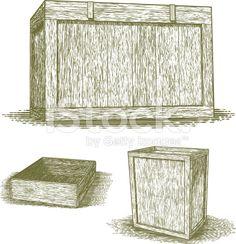 Woodcut Wooden Crates royalty-free stock vector art