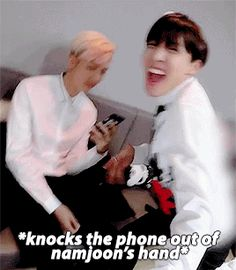 HAHAHAHA NAMJOON'S FACE WHEN HOSEOK KNOCKS THE PHONE OUT OF HIS HAND HAHAHAHAHAHA