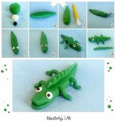BlackBetty'sLab: cake topper- DIY Tutorial FIMO Polymer clay - simple and easy crocodile Clay Crafts For Kids, Kids Clay, Diy For Kids, Fondant Animals, Clay Animals, Fondant Figures, Clay Figures, Crocodile Cake, Fondant Tutorial
