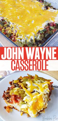 Taco meat, chilis, onions, peppers and tons of gooey cheese make up this delicious John Wayne Casserole. The star of this recipe is the bisquick layer at the bottom. This recipe is a great family dinn Casserole Dishes, Casserole Recipes, Meat Recipes, Cooking Recipes, Brunch Recipes, John Wayne Casserole, Leftover Taco Meat, Slow Cooker Ground Beef, Homemade Taco Seasoning Mix
