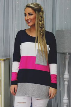 Striped Patch Pocket Detail Long Sleeve Top – UOIOnline.com: Women's Clothing Boutique