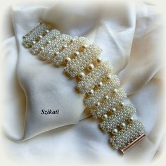 SALE 10% OFF Elegant White Pearl/Seed Bead Cuff by Szikati on Etsy