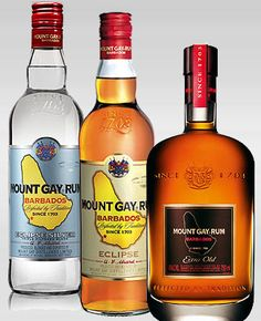 Did you know Barbados made the OLDEST brand of rum in the world in 1703 by Mount Gay?  Mount Gay's IS the finest! When you come to Barbados, make sure you tour not just the rum factories but, take a rum shop crawl, man!  Pair some rum with authentic food and chill with real Bajans. Pic: Mount Gay Silver, Traditional Eclipse and Extra Old