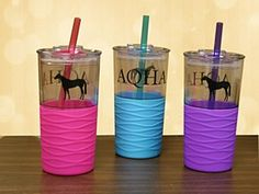 AQHA Riptide Tumblers from Quarter Horse Outfitters! Comes in blue, pink or purple.