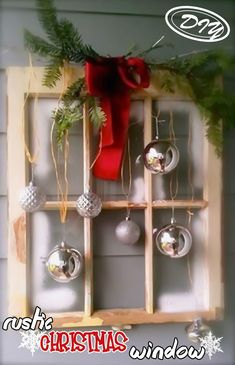 DIY Rustic Christmas Window – Top Easy Interior Design For Party Decor Project - Homemade Ideas (3)