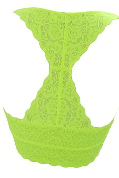 Sweet Sassy Lace Triangle Soft Bra with Mesh Lining Racerback Bralette Lace Top (S, Neon Yellow) * Click picture to evaluate even more details. (This is an affiliate link).