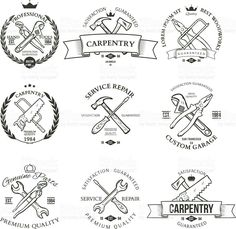 Set Of Vintage Carpentry Hand Tools Repair Service Labels And Design Elements Vector