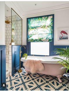 Bathroom Inspiration // Pop Sugar Home The Perfect Scandinavian Style Home Tropical Bathroom, Tropical Decor, Bathroom Pink, Funky Bathroom, Bathroom Colours, Bathroom Tiling, Shower Bathroom, Beautiful Small Bathrooms, Beautiful Houses Interior