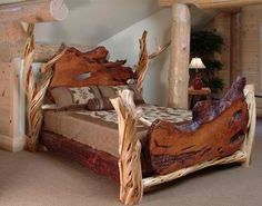 Another fabulous log bed. Another fabulous log bed. Another fabulous log bed. Lodge Furniture, Rustic Bedroom Furniture, Rustic Bedding, Diy Furniture, Bedroom Rustic, Mexican Furniture, Luxury Furniture, Bedroom Decor, Quality Furniture