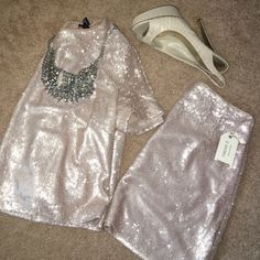 Blush pink sequined 2 piece Crew neck short sleeve cropped top, mini skirt. Could be worn as a set or separately! In love with the color, I'm afraid I'm not going to wear this and it was an impulse buy! Size small, both pieces! New with tags. Little sequins throughout (front to back). You can barely see your mid drift, tasteful! Looks expensive! (Necklace not included) Forever 21 Dresses Mini