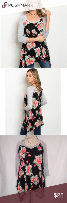 "Black Gray Floral top with raglan sleeves Beautiful top comfy and romantic all at once!  The floral fabric is 100% rayon and the contrast is 95% rayon 6% spandex.  Very soft.  Made in USA.  Underarm to underarm is approx (S) 17"" (M)18"" (L)19"" across front. Sweet Claire Tops"