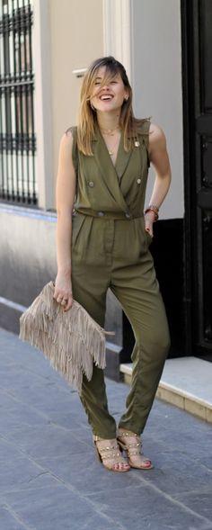 Khaki military jumpsuit