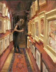 """""""Hall of Paintings,"""" Kim English (American, b. 1957), Oil on panel, 18 x 24 in."""