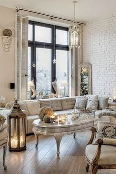 Chic Shabby and French white living room