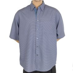 Bugatchi Uomo Shirt Plaid Gingham Mens XL SS Casual Button Front Blue White #SomeLikeItUsed