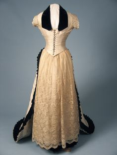 Velvet Trimmed Trained Reception Dress, ca. 1880svia Augusta...