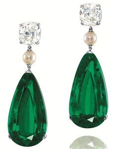 Emerald, pearl and diamond earrings in platinum, featuring Colombian pear-shaped emeralds weighing 23.34 carats and 23.18 carats.