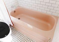 Pink Bathtub, Pink Tub, Bathtub Makeover, Pink Toilet, Apartment Makeover, Tub Surround, Aesthetic Room Decor, Downstairs Bathroom, House On Wheels