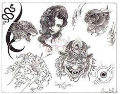 Traditional Tattoo Flash, Flash Art, Tattoo Sketches, Tatting, Book Art, Black And Grey, Tattoo Designs, Animals, Vintage