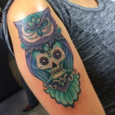 Owl sugar skull tattooed by Autumn Dancer