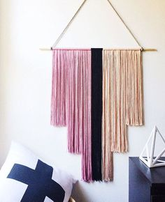Pink and Black Yarn Wall Hanging Art Deco banner fiber art nursery modern decor cotton yarn geometric fringe baby girl weaving gift idea