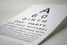 """""""Eye Chart"""" 60th Birthday Party Invite"""
