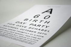"""Eye Chart"" 60th Birthday Party Invite"