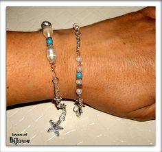 3029(11) - Set di bracciali realizzati a mano, costituiti da pasta di turchese, perle di fiume, perline e charm