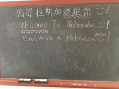 The chalkboard in the Stuhr Building's Family Activity Center had an international flair yesterday.