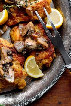 NYT Cooking: This French-inspired chicken dish isn't exactly weeknight fare, but it is sophisticated comfort food that is well worth the effort. First, boneless chicken thighs or breasts are pounded into cutlets, marinated in garlic, lemon juice and thyme (up to 6 hours, but even a short sit will do nicely), then breaded and fried. They are then dressed in a rich yet delightfully piq...