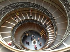 Awesome staircase inside the Vatican Museum, Rome, Italy. May 2016.