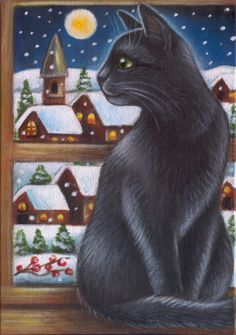 Black Cat Winter Painting
