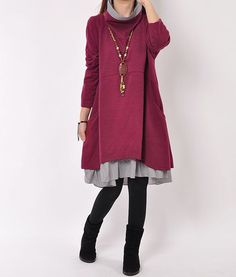 I love this dress and designer. I want more dresses layers and loose like this with leggings.  I love the neck on this!
