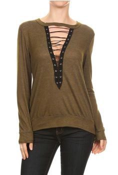 LACED PLUNGE SWEATER