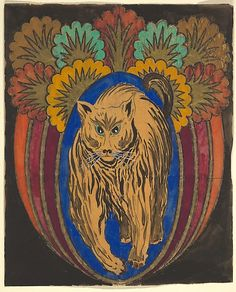 Anonymous, French, 20th century. Vertical Panel with a Cat and Decorative Trees, 1910-1929