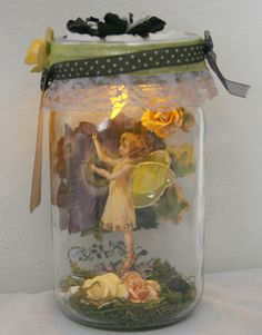 Captured fairy jar nightlight. Fairy in a jar. by MillGapCorner