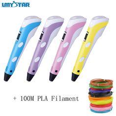 LMYSTAR 3D Printer Printing Pen LED Display Arts Drawing Painting 3D Pens For Kids Present Tools + 10 Color 100M PLA Filament //Price: $40.94//     #gadgets