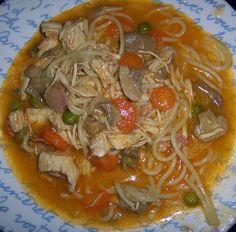 Pollo con espaguettis en Thermomix  Este pollo con espaguettis en Thermomix es una verdadera delicia. Una manera de que los niños coman de todo un poco.  Pechuga de pollo cortada a trozos 2 zanahorias (cortadas a rodajas finitas) 1 puñadito de guisantes congelados 1 puñadito de champiñon laminado (de bote) 1 brick de tomate frito 1 cebolla 1 diente de ajo espaguettis (o macarrones o la pasta que queramos) 50 gr de aceite de oliva Sal y pimienta  Introducir en el vaso la cebolla (cortada…