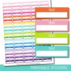 Test stickers, Test planner stickers, Printable test stickers, Test box stickers, Test Header stickers, Life planner stickers, STI-219