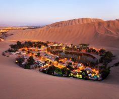 Atacama Desert, Oasis of Huacachina, Peru: #AtacamaDesert #Ica #Oasis #Huacachina #HuacachinaVillage #HuacachinaLagoon #PalmTrees #Peru #SouthAmerica #FlightstoPeru #TravelCenter #AirfaresMarketLeader