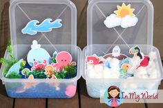 Sunday School Creation Day 5. FREE printables to help create a sky and ocean sensory tub for a sorting activity.