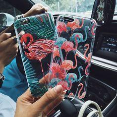 粉色人火烈鳥透明塑料殼手機殼iPhone case (自留 夏天 粉紅色)