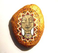 Hand painted Gold Goddess art by SeeQueenStones on Etsy, £14.00