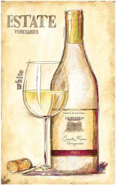 "White Wine Bottle & glass Art Print - ""Estate Vineyards"" - Santa Rosa Vineyards 1963 Chardonnay by Emily Adams #Vintage #cCreams  (Wine Labels Art)"
