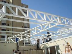 Grill Gate Design, Window Grill Design Modern, Roof Truss Design, Balcony Grill Design, Main Gate Design, Steel Trusses, Roof Trusses, Steel Structure Buildings, Roof Structure