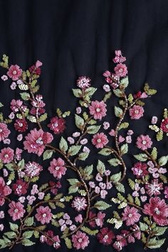 Haute Couture Fabric Hand beaded bloom of mulberry colored image 3 Hand Embroidery Dress, Couture Embroidery, Embroidery Suits, Embroidery Fabric, Hand Embroidery Designs, Beaded Embroidery, Embroidery Stitches, Bead Embroidery Tutorial, Bead Embroidery Patterns